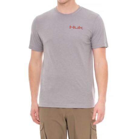 Huk KScott Walleye Attack T-Shirt - Short Sleeve (For Men and Big Men) in True Grey Heather