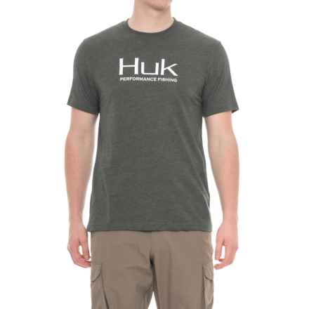 Huk Logo T-Shirt - Short Sleeve (For Men and Big Men) in Dark Grey Heather - Closeouts