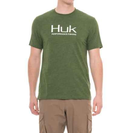 Huk Logo T-Shirt - Short Sleeve (For Men and Big Men) in Heather Green