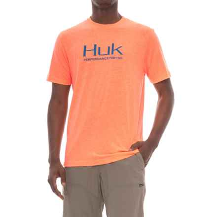 Huk Logo T-Shirt - Short Sleeve (For Men and Big Men) in Heather Orange - Closeouts