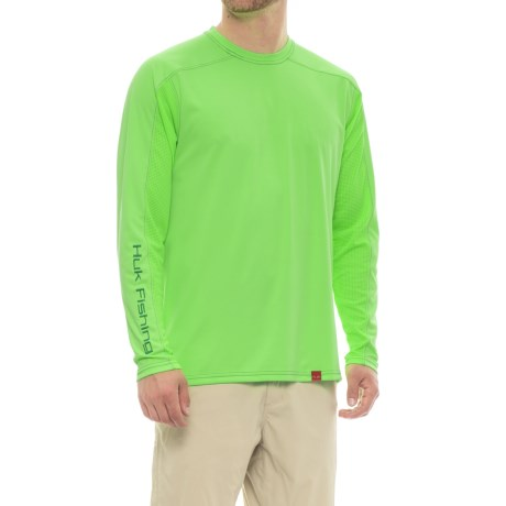 Huk Next Level ICE T-Shirt - UPF 30+, Long Sleeve (For Men and Big Men) in Heather Neon Green