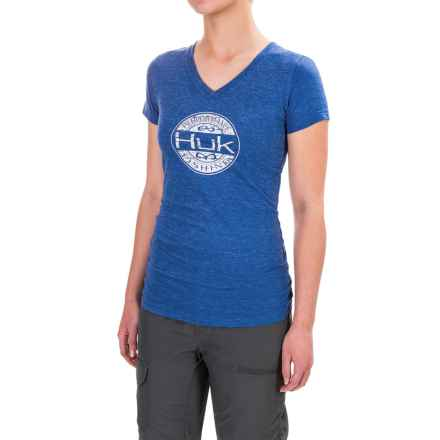 Huk Oval V-Neck T-Shirt - Short Sleeve For Women) in Royal Heather - Closeouts
