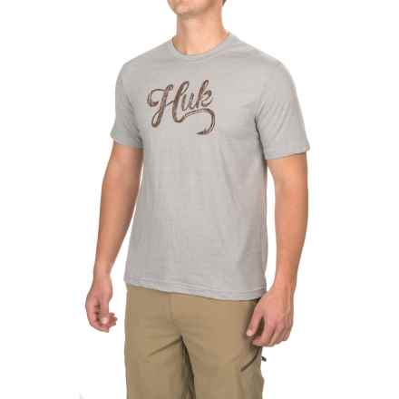 Huk Script Logo T-Shirt - Short Sleeve (For Men and Big Men) in True Grey Heather - Closeouts