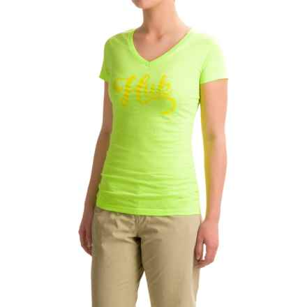 Huk Script-Logo T-Shirt - V-Neck, Short Sleeve (For Women) in Heather Neon Green - Closeouts
