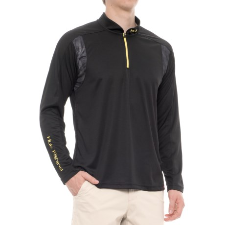 Huk Trophy Shirt - Zip Neck, Long Sleeve (For Men and Big Men) in Black