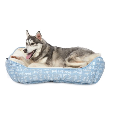 """Humane Society """"Happy"""" Script Reversible Lounger Dog Bed - 28x22"""" in Blue"""