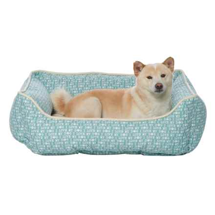 """Humane Society """"I Love My Dog"""" Script Lounger Dog Bed - 28x22"""" in Blue Haze - Closeouts"""
