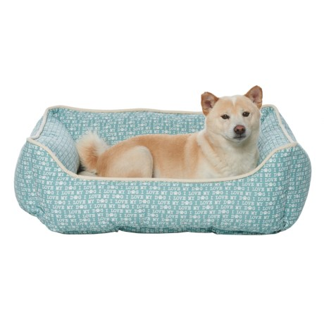 "Humane Society ""I Love My Dog"" Script Lounger Dog Bed - 28x22"" in Blue Haze"