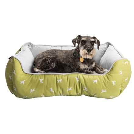 """Humane Society Dog Pattern Lounger Dog Bed - 28x22"""" in Linden Green/Grey - Closeouts"""