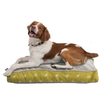 "Humane Society Dog Pattern Rectangle Dog Bed - 27x36"" in Linden Green/Grey - Closeouts"