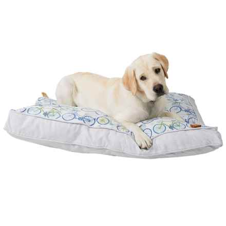 "Humane Society Dogs and Bikes Rectangle Dog Bed - 40x28"" in Sea - Closeouts"
