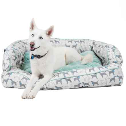 "Humane Society Dogs in Hats Bolster Dog Bed - 2XL, 29x43"" in Blue/Teal Multi - Closeouts"