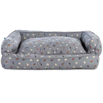 "Humane Society Polka Breeds XX-Large Bolster Dog Bed - 29x43x12"" in Multi Grey - Closeouts"