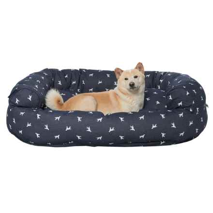 "Humane Society Polka-Dog Denim Round Bolster Couch Dog Bed - 48x36"" in Blue - Closeouts"