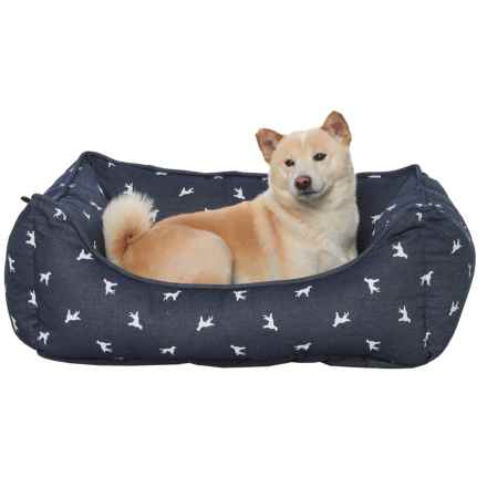 """Humane Society Polka-Dog Reversible Lounger Dog Bed - 28x22"""" in Blue - Closeouts"""