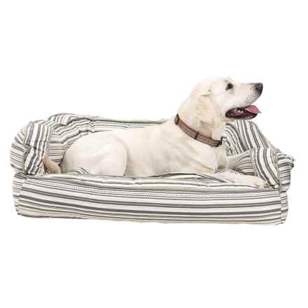 """Humane Society Scarf Stripe Canvas Bolster Dog Bed - Extra-Large, 36x27"""" in Tan - Overstock"""