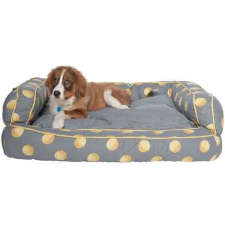 """Humane Society Tennis Balls Bolster Dog Bed - 29x43"""" in Grey - Closeouts"""