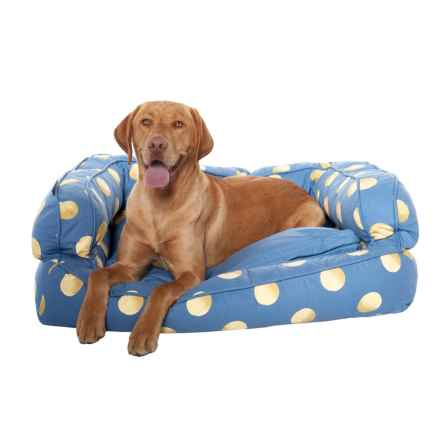 "Humane Society Tennis Balls Bolster Dog Bed - 36x27"" in Blue - Closeouts"