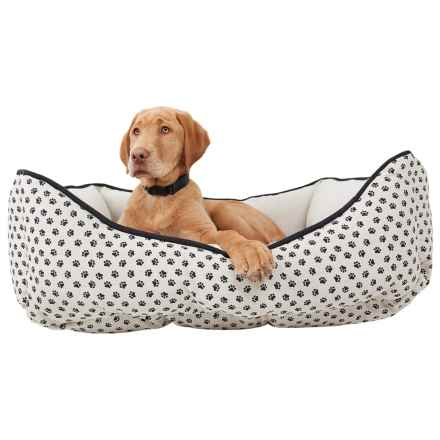 "Humane Society Tossed Paws Lounger Dog Bed - 28x22"" in Dark Faux Linen - Closeouts"