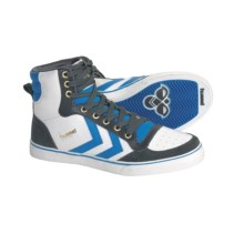 Hummel Stadil High Top Shoes - Leather, Sneakers (For Men) in White/Blue/Castle Rock - Closeouts