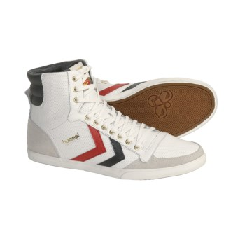 Hummel Stadil Slimmer High Top Shoes - Leather, Sneakers (For Men) in White/Castle Rock/Rhodesian Red