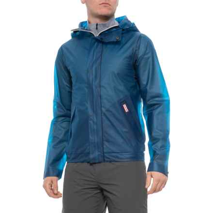 0696947a HUNTER Ocean Blue Original Vinyl Windcheater Jacket - Waterproof (For Men)  in Ocean Blue