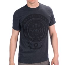 Hurley Bannered Premium T-Shirt - Cotton, Short Sleeve (For Men) in Heather Black - Closeouts