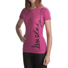 Hurley Downside T-Shirt - Short Sleeve (For Women) in Magenta - Closeouts