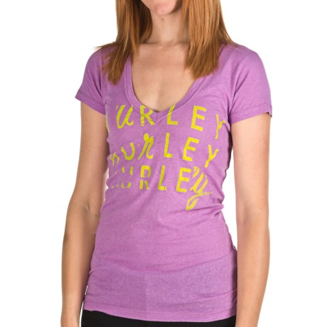 Hurley Gurley T-Shirt - V-Neck, Short Sleeve (For Women) in Heather Amythyst