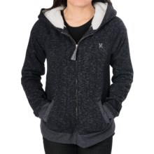 Hurley Homeroom Hoodie Sweatshirt - Sherpa Fleece (For Women) in Heather Black - Closeouts