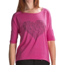 Hurley Love Struck T-Shirt - Cotton Jersey, 3/4 Sleeve (For Women) in Magenta - Closeouts