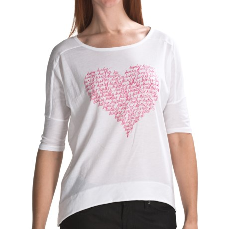 Hurley Love Struck T-Shirt - Cotton Jersey, 3/4 Sleeve (For Women) in White
