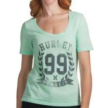 Hurley MVP Vintage Print T-Shirt - Short Sleeve (For Women) in Seafoam - Closeouts