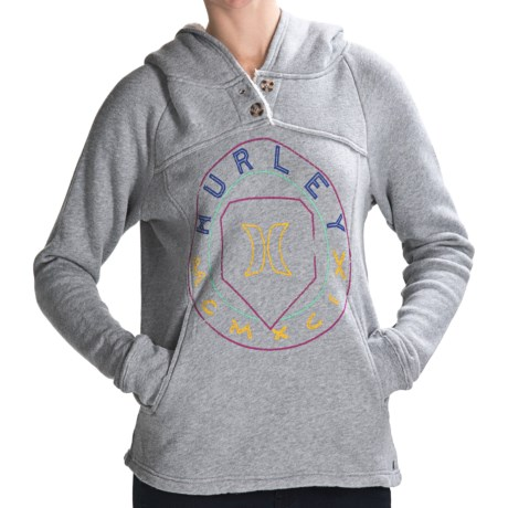 Hurley Nightfall Hoodie Sweatshirt - Sherpa-Lined Hood (For Women) in Heather Grey