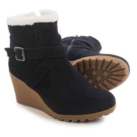 Hush Puppies Amber Miles WeatherSMART Wedge Boots - Waterproof, Insulated, Suede (For Women) in Navy - Closeouts