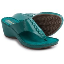 Hush Puppies Aven Copacabana Wedge Sandals - Leather (For Women) in Turquoise Leather - Closeouts