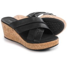 Hush Puppies Belinda Durante Wedge Sandals - Leather (For Women) in Black Leather - Closeouts