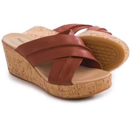 Hush Puppies Belinda Durante Wedge Sandals - Leather (For Women) in Dark Orange Leather - Closeouts
