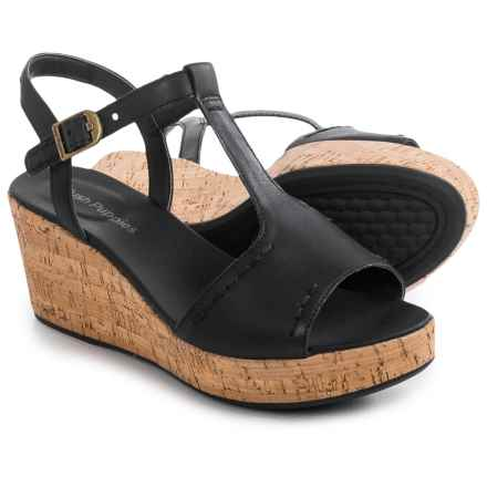 Hush Puppies Blakely Durante Wedge Sandals - Leather (For Women) in Black Leather - Closeouts