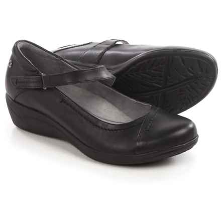 Hush Puppies Blanche Oleena Mary Jane Shoes - Leather, Wedge Heel (For Women) in Black Leather - Closeouts