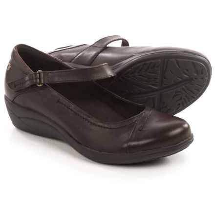 Hush Puppies Blanche Oleena Mary Jane Shoes - Leather, Wedge Heel (For Women) in Dark Brown Leather - Closeouts