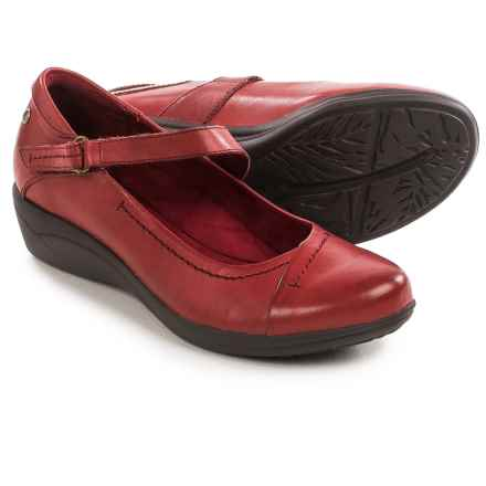 Hush Puppies Blanche Oleena Mary Jane Shoes - Leather, Wedge Heel (For Women) in Dark Red Leather - Closeouts