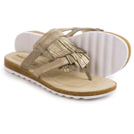 Hush Puppies Bryson Jade Sandals - Leather (For Women) in Light Gold Metallic Leather - Closeouts
