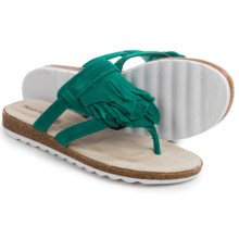 Hush Puppies Bryson Jade Sandals - Leather (For Women) in Turquoise Suede - Closeouts