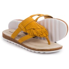 Hush Puppies Bryson Jade Sandals - Leather (For Women) in Warm Yellow Suede - Closeouts