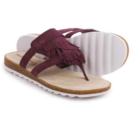 Hush Puppies Bryson Jade Sandals - Leather (For Women) in Wine Suede - Closeouts