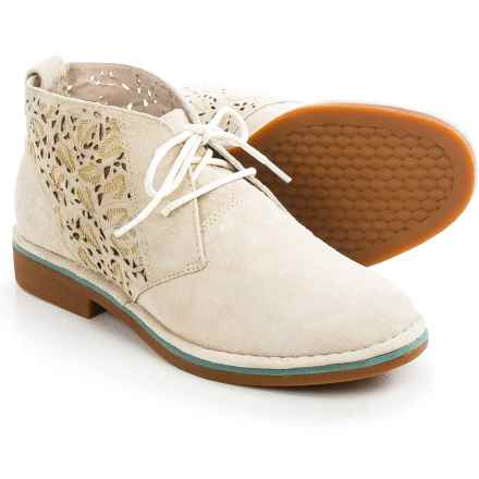 Hush Puppies Cyra Catelyn Chukka Boots - Suede (For Women) in Perforated Off White Suede - Closeouts