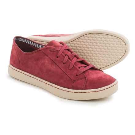Hush Puppies Ekko Gwen Sneakers - Leather (For Women) in Dark Red Suede - Closeouts