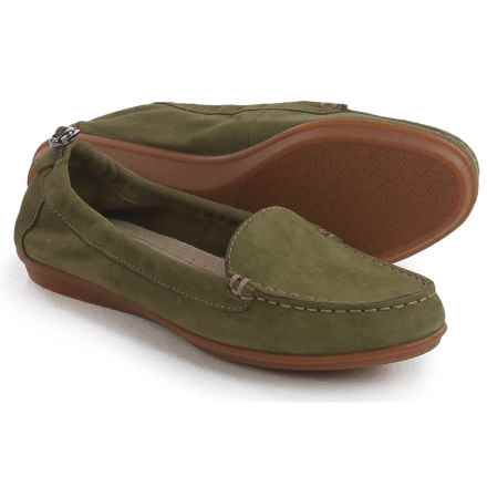 Hush Puppies Endless Wink Loafers - Leather (For Women) in Dark Olive Nubuck - Closeouts