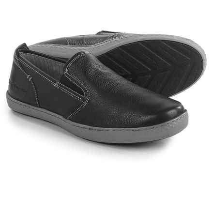 Hush Puppies Goal Roadcrew Shoes - Suede, Slip-Ons (For Men) in Black Leather/Grey - Closeouts